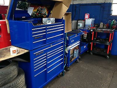 "Snap-On Tool box 40"" Royal blue with side shelf"