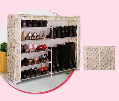 M White Rose Dust-Proof Solid Wood Oxford L113*W28*H98CM 7 Layer DIY Shoe Rack !