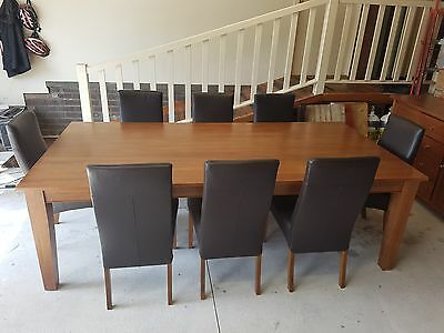 Solid Timber Dining Table and 8 Leather Chairs