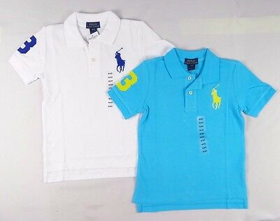Ralph Lauren Boys' Short Sleeve Big Pony Cotton Polo Shirt Top sizes 2,3,4,5,6,7