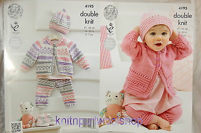 KINGCOLE 4195 BABY DK KNITTING PATTERN  16-26 IN -not the finished garments