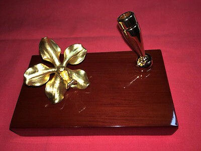 Risis Orchid Collection 24 carat gold plated Desktop Pen Holder