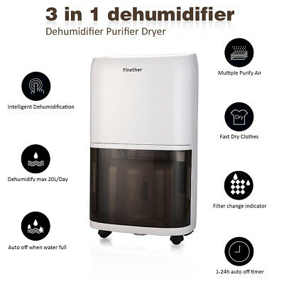 Finether 2.4L Deshumidificador de Aire Purificador Dehumidifier UV Anión 1.1L/D