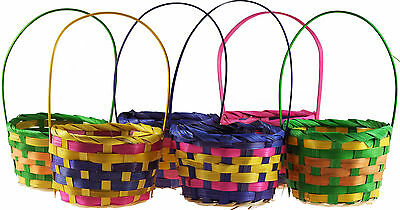 Set Of 6 Small Multi Colour Easter Egg Hunt Wicker Baskets