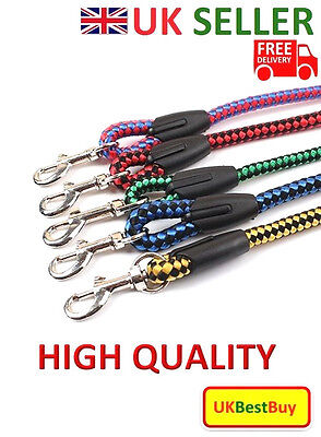 New Nylon Braid Weave Rounded Traction Rope Pet Dog Puppy Lead Leash - UK SELLER