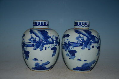 Fine Chinese  Pair Blue White  Porcelain Pot