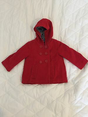 M&S Little Girls Red Coat Aged 12-18months