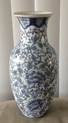"""Chinese  Blue and White Floral Hand Painted Porcelain  Vase 8"""""""