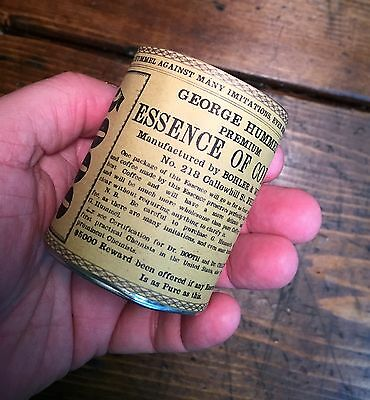 Civil War Soldered Tin Can Essence Of Coffee George Hummel Repro Label Haversack
