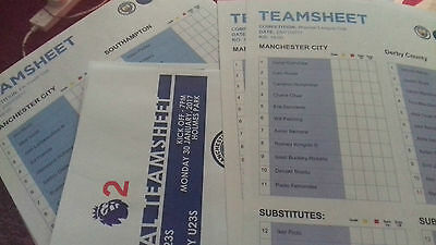 Manchester City FC Teamsheets(Reserves & Academy) Various 2013/14