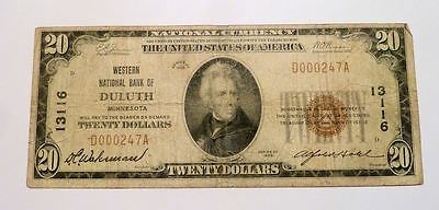 National Currency Banknote $20 DULUTH MN Minnesota Western NB Series 1929