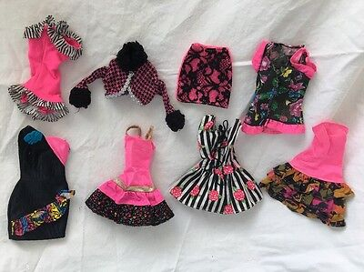 Genuine Barbie PURPLE Tagged Doll Outfits BLACK & PINK Lot #12