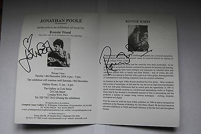 Art Gallery invitation to Ronnie Wood art exhibition signed by Ronnie & Jo Wood