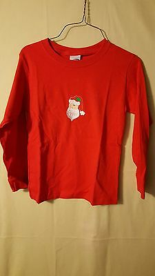 "Kids  Embroidered Long Sleeve Red Christmas T-Shirt Size M (10-12) ""Santa"""