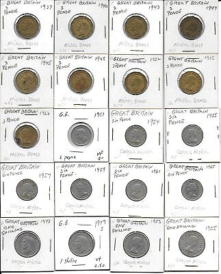 Great Britain 20 coins starter set different dates 3 pence,6 pence and shillings