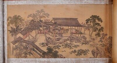 Rare Vintage Chinese Paper Figure Landscape Scroll Painting Mark PP329
