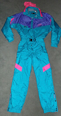 Vtg 80s NEVICA Mens 44 NEON Teal Onesie Snow SKI Suit BIB Coat Snowsuit L XL
