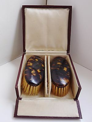Vintage Gentleman's Faux Tortoise Shell Brush Set in Box Art Deco