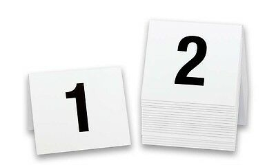 Plastic Table Markers 1-20, Tent Style, White w/ black number, Free shipping