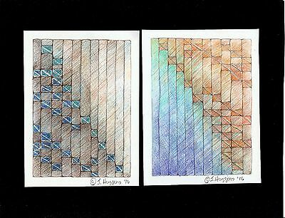 """Abstract Pencil Drawing """"Woven Paths"""" Artist Signed Original 11""""x8.5"""" 313"""