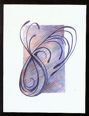 """Abstract Pencil Drawing """"Whimsical"""" 7.8in x 5.8in Signed Original #033"""