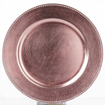 """24 pcs 13"""" Blush BEADED ACRYLIC CHARGER PLATES Wedding Party Dinner Supplies"""