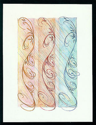 """Abstract Pencil Drawing """"Vacation Days"""" 7.8in x 5.8in Signed Original #005"""