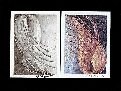"""Abstract Pencil Drawing """"Windy Afternoon 2"""" Artist Signed Original 11""""x8.5"""" 307"""