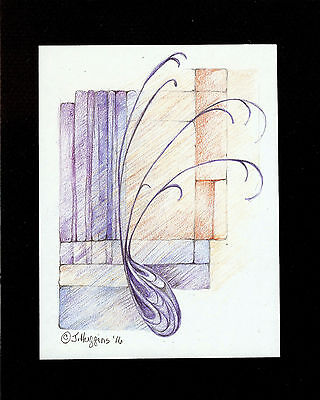 """Abstract Pencil Drawing """"Simplicity"""" 6"""" x 4.5"""" Artist Signed Original 2"""