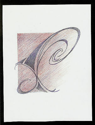"""Abstract Pencil Drawing """"Whimsy II"""" 7.8in x 5.8in Signed Original #047"""