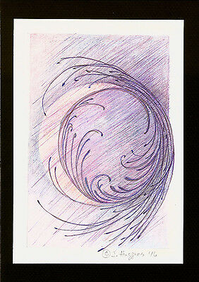 """Abstract Pencil Drawing """"Twilight Crescent"""" 8.0in x 5.5in Signed Original 026"""
