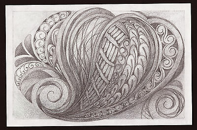 """Abstract Pencil Drawing """"Trifold Paisley"""" 9in x 6in Signed Original 173"""