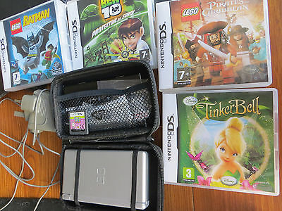nintendo ds lite.console with charger, carry case and games Lego batman, ben 10