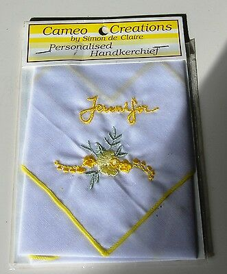 "A Cameo Creations By Simon De Claire Personalised Handkerchief ""jennifer"""