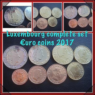 Luxembourg Euro Coins Complete Set 2017 From 1cent - 2 Euro 8 Coins New BUNC KMS