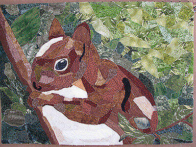 Wall Hanging Handmade Squirrel Art Quilt by HMJQuiltsPlus