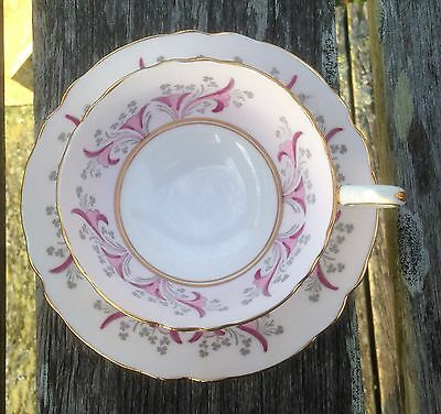 Crown Staffordshire ART DECO Style Pink Floral Pattern Tea Cup & Saucer