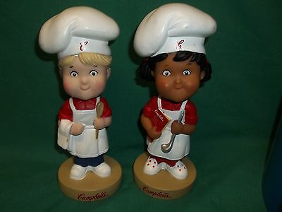 Pair Of Campbell's Soup Kids Bobble Head Chefs