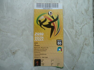 Used Ticket FIFA World Cup 2010 #50 USA Ghana with Names