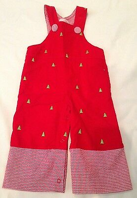 Mud Pie Infant Red Corduroy Christmas Tree Romper Overalls Outfit 0-6 months