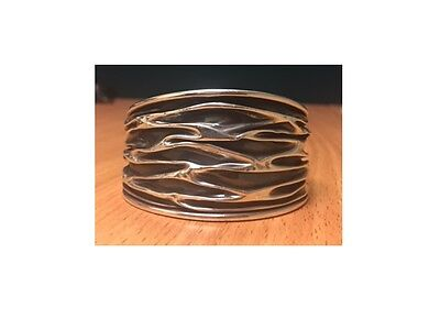 OXIDISED STERLING SILVER CRUSHED CUFF / BRACELET BANGLE RIPPLE CREASE Essential