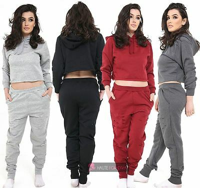 New Ladies Two Piece Set Crop Top Hooded Pocket Distressed Tracksuit Uk 8-14