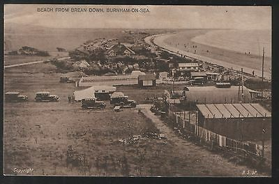 Postcard- Old Cars, Brean Down, Burnham-on-Sea, Somerset. Unposted - looks early