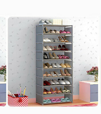 Silver Gray Dust-Proof Non-Woven Steel Frame L60*W30*H160CM 9 Layers Shoe Rack !