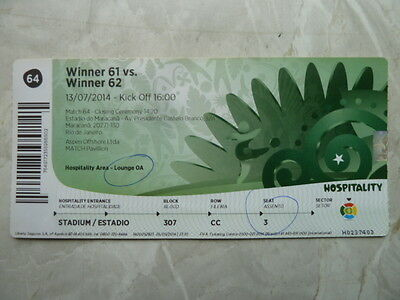 Used VIP Ticket FIFA World Cup 2014 #64 FINAL Germany Argentina Deutschland DFB