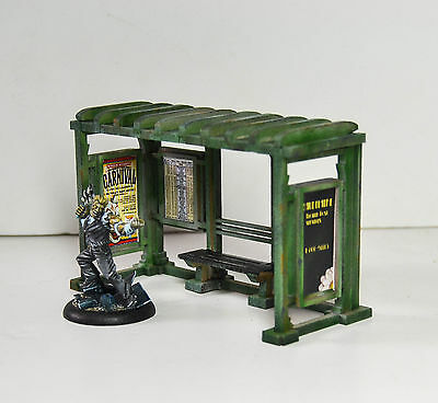 Gaming terrain for Marvel DC or Pulp Miniatures   Bus Shelter kit