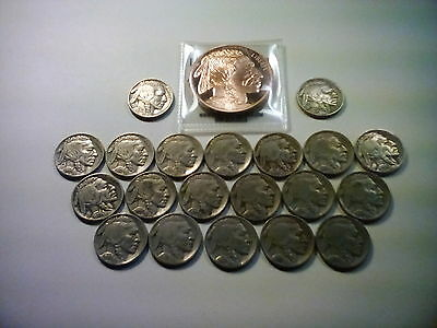 """20 Old full date Buffalo's and 1 oz """"Buffalo"""" copper Round!"""