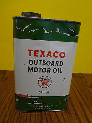 VINTAGE 1950's TEXACO OUTBOARD MOTOR OIL CAN ONE QUART SAE 30 ~FAST S/H~