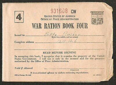 Wwii Us War Ration Book Four Coupons Booklet