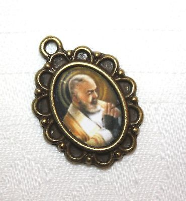 St. Padre Pio Rosary Mini-Medal/ Choice of Antique Silver/Antique Bold or Bronze